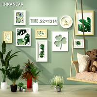 Photo Frames Modern Love Leaf Pastoral Green Tree Office/Store/Home Wall Decoration Wood Painting Pictures Frame Set HF9303