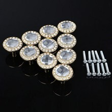 New 10PCS Round Pull Handle Shiny Rhinestone Knob for Cupboard Metal crystal handle Drawer Silver & Gold Free Shipping SJ-5001