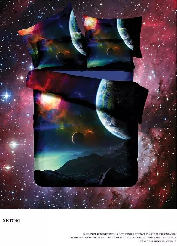 2017New fashion 3D Outer Space Star Galaxy Bedding Set ...