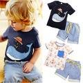 New Baby Kids Niños Del Verano Camisetas de Manga Corta Camiseta Pantalones Cortos trajes Edad 1-7Y del bebé ropa del muchacho los niños que arropan los traje