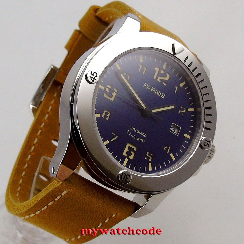 Saatler'ten Mekanik Saatler'de Lüks Marka erkek saati Otomatik Parnis 43mm mavi kadran süper parlak tarihi 8215 Otomatik Mekanik erkek Saatler kol saati'da  Grup 1