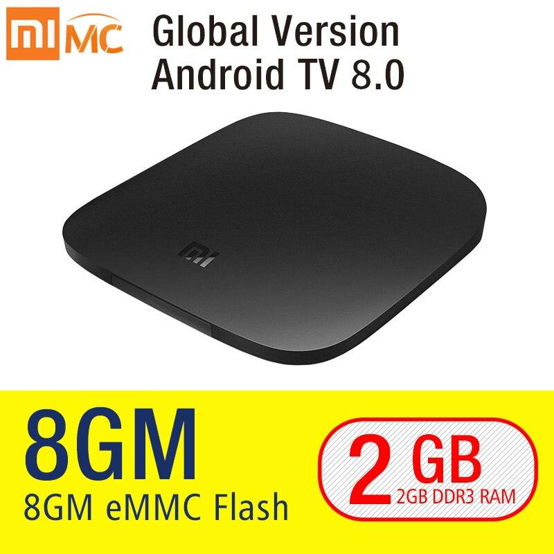 Origine Xiao mi mi TV BOÎTE 3 Smart 4 k Ultra HD 2g 8g Android 8.0 Film WIFI google Fonte Netflix Rouge Bull Media Lecteur Set-top Box