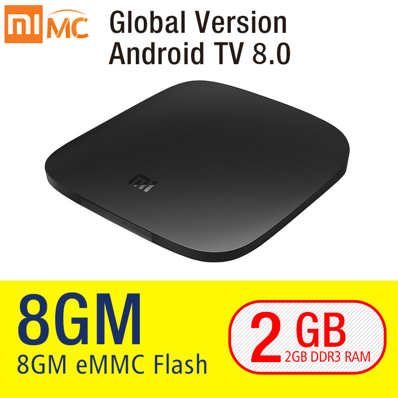 Original Xiao mi mi TV BOX 3 Smart 4 karat Ultra HD 2g 8g Android 8.0 Film WIFI Google cast Netflix Red Bull Media Player Set-top Box