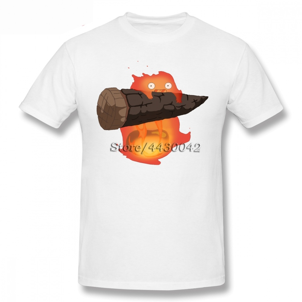Hayao Miyazaki Howl 39 s Moving Castle Calcifer T shirt For Men Plus Size Cotton Team Tee Shirt 3XL 3XL Camiseta in T Shirts from Men 39 s Clothing