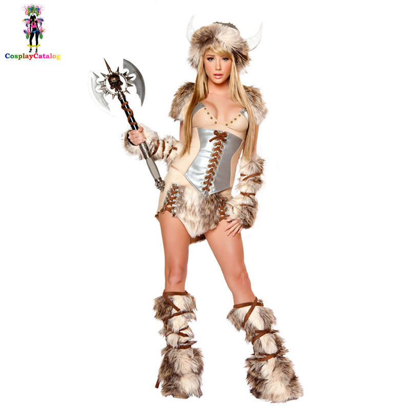 Adult Women The Viking Deluxe Halloween Cosplay Faux Fur Costume Female Warrior Furry Costumes Fancy Animal Uniforms