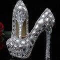 Кристалл бисера горный хрусталь Блестящие высокие каблуки женский леди Женщины Свадебные Свадебная Обувь 2 Дюйм(ов) Выпускной Пром Party club Bar обувь