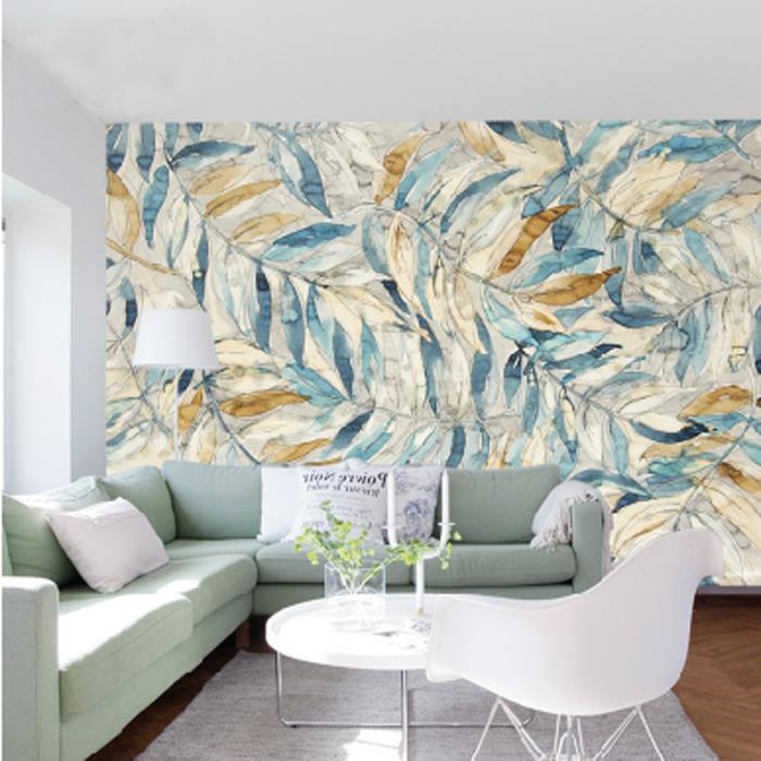 Custom Size Photo Nordic art hand painted leaves wallpaper TV bedroom sofa porch aisle living room restaurant wallpaper mural free shipping watercolor art living room lobby mural fashion salon shop clothing store restaurant lounge bar wallpaper