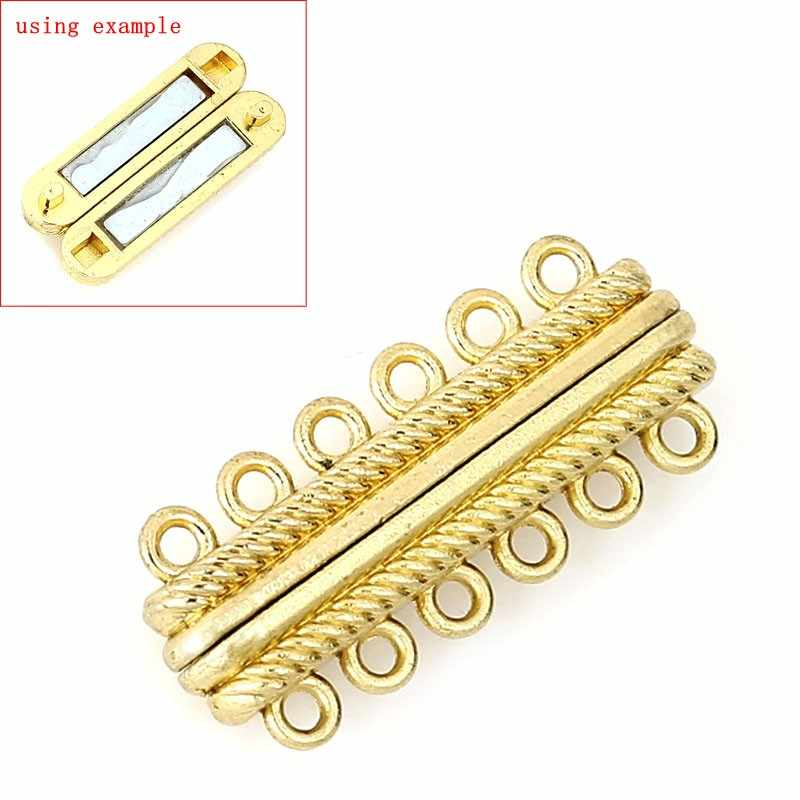 "Magnetic Hematite Magnetic Clasps Rectangle Gold Color 3.3cm(1 2/8"") x 14mm( 4/8""), 1 Set new"