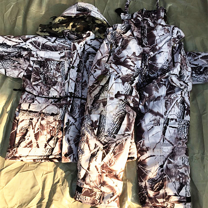Winter Waterproof Breathable Snow Camouflage Hunting Suits Ski Suit Thick Warm Bionic Camouflage Clothing творог растишка лесные ягоды персик груша 3 5