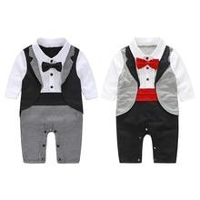 Baby Boy Gentleman Rompers Infant Jumpsuit Neck Tie Party Suit Clothes Cool Romper