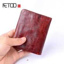 Aetoo手作りの芸術財布レトロ小銭入れブラシカラー100%本革財布男性バッグ最高の贈り物