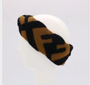 Image 3 - Kadın jakarlı yün karışımı elastik örgü bantlar saç bandı