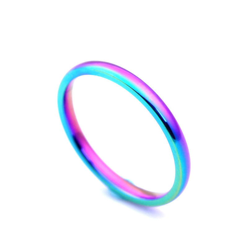 Fashion Simple Ring Female Fashion Stainless Steel Ring Colour Glossy Rainbow Color Sandblasting