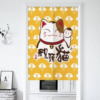 Gato de la suerte japonés cortina de puerta sala de estar dormitorio cortina con cierre Noren entrada Feng Shui cortina de puerta