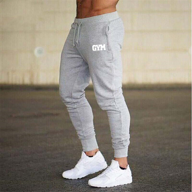 2019 GYMS New Men Joggers Brand Male Trousers Casual Pants Sweatpants Jogger grey Casual Elastic cotton Fitness Workout pan 3