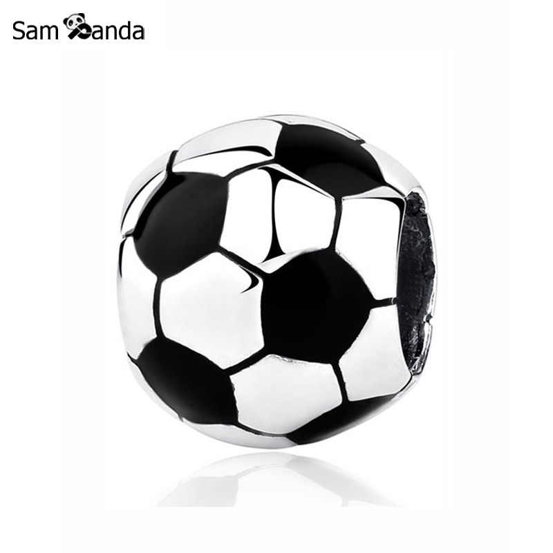 Authentic Original 100% 925 Sterling Silver Bead Charm Soccer Ball Football Charms Fit Pandora Bracelets Women DIY Jewelry