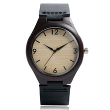 Classical Black/Brown Mens Women Quartz Bamboo Wood Watches Genuine Leather Watchband Hot Sale Handmade Watch for Male Gift