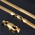 YHAMNI Original Gold Plated Necklace Wholesale New Trendy 6 MM 50 CM Snake Chain Necklace Men Jewelry AX178