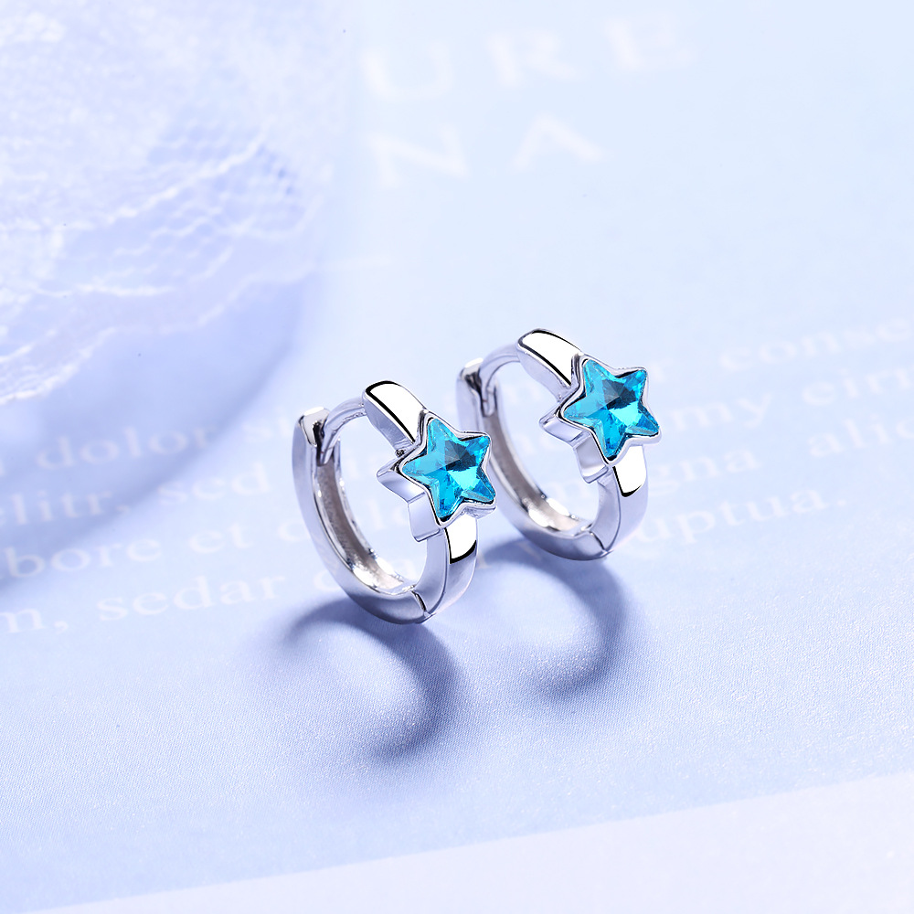 Luminous 925 Sterling Silver Sparkling Blue Stackable Star Crystal Stud Earrings For Women Fashion Silver Jewelry Oorbellen