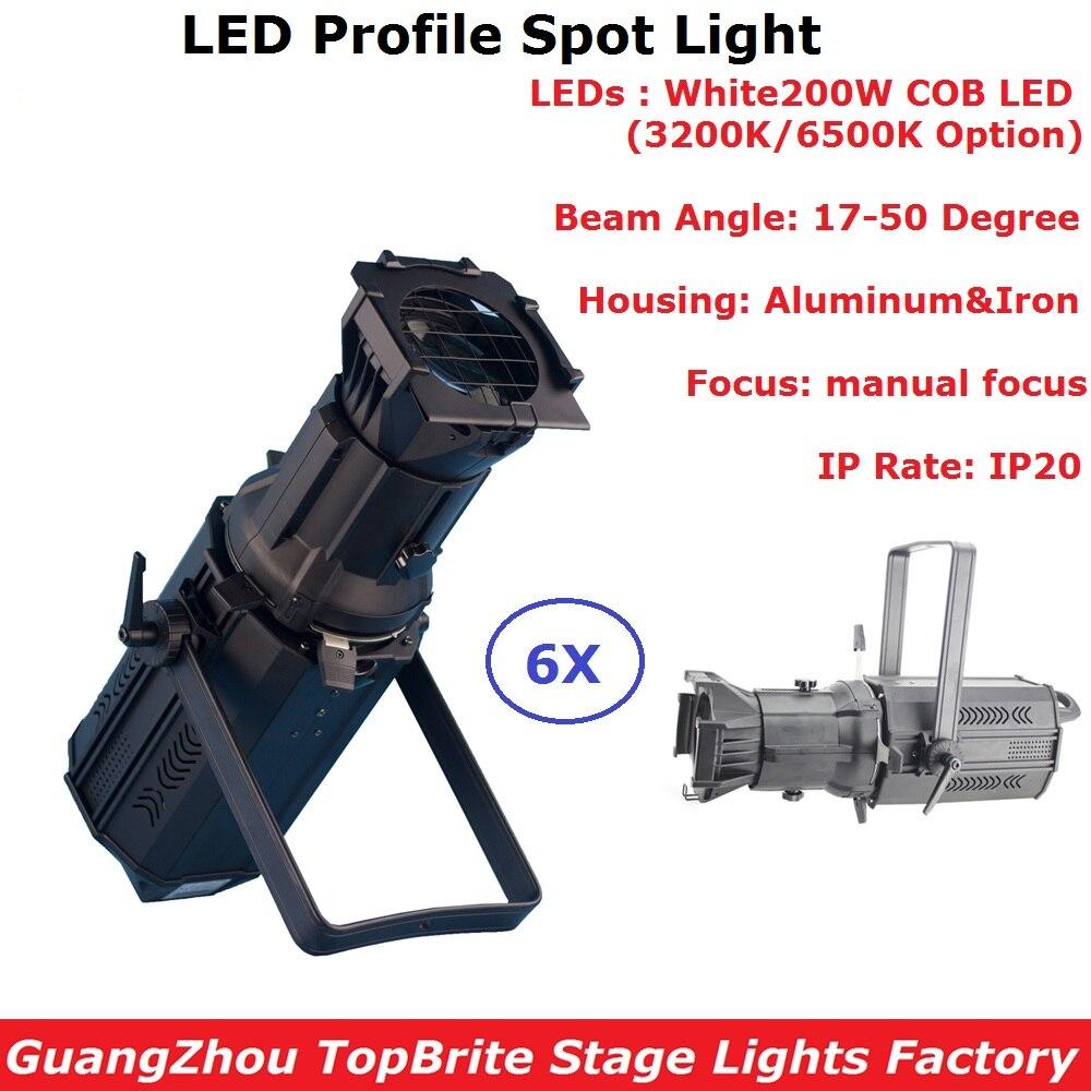 Free Shipping 6Pcs/Lot Stage Light 200W COB LED Prefocus Profile Light Warm White Or Cold White LED Zoom Gobo Lights DMX Control 6pcs lot free
