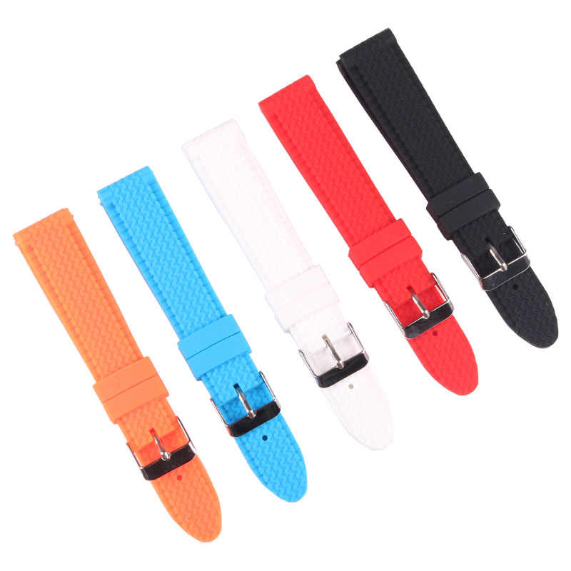 Buy 2 Get 10% OFF) Rubber 18/20/22/24mm Bright-Colored Solid Watch Multi Color Army Military watchbands Strap Bands Buckle 18mm