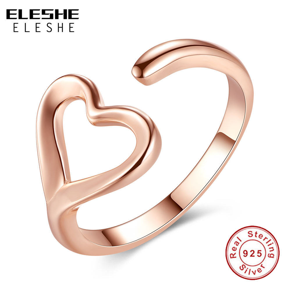 caf96cd40 ELESHE خاص فريد بسيطة 925 فضة فتح خواتم للنساء الحب القلب روز خاتم من الذهب  مجوهرات الزفاف أصيلة