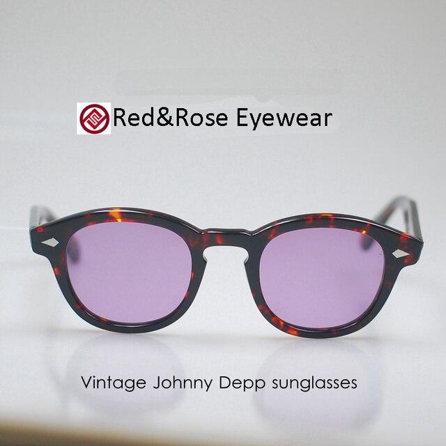 Brand Retro Eyeglasses Frame Vintage Johnny Depp Anti-Reflective Sunglasses Tortoise M Tinted Purple Lens 100%UV400 HOT!