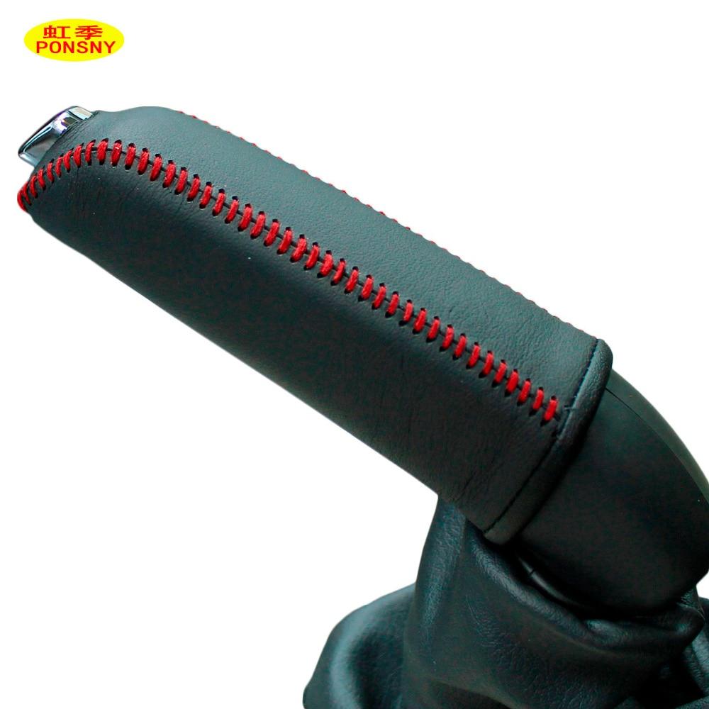 PONSNY Car Handbrake Covers Case For Peugeot 408 2010-2013 Genuine Leather Car-styling Handbrake Grips Cover