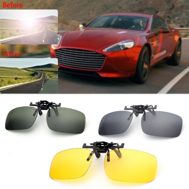 Clip On Sunglasses Driving Night Vision Lens Sun Glasses Male Anti-UVA  For Men Women With Case & Glasses Cloth