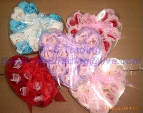 300pcs/lot,Gift Box Rose Soap Flowers,Heart-Shaped Romantic Rose Soap Flowers,Valentine's/Wedding Gift,Free Shipping, Best Gift