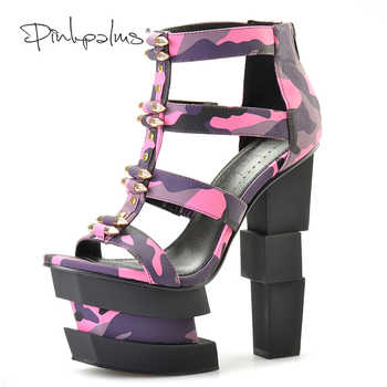 Pink Palms summer women shoes high heels wedge sandals fuchsia camouflage bullet decoration sexy punk party sandals - DISCOUNT ITEM  35% OFF All Category