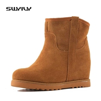 Cow Leather Boots Women Winter Warm Cotton Shoes Female Hidden Wedges Increased Ankle Boots Suede Chestnut