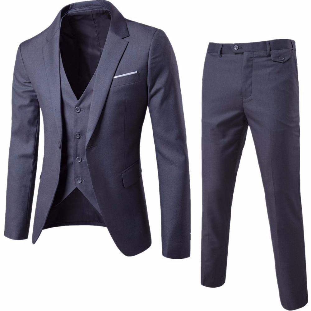 (Veste + pantalon + gilet) costumes de mariage de luxe décontracté hommes casual mâle Blazers Slim Fit costumes hommes Costume affaires formel fête classique