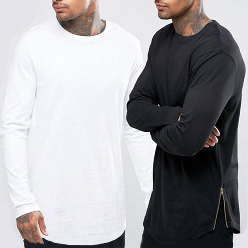 2016 New Trends Men T shirts Super Longline Long Sleeve T-Shirt Hip Hop Arc hem With Curve Hem Side Zip Tops tee image