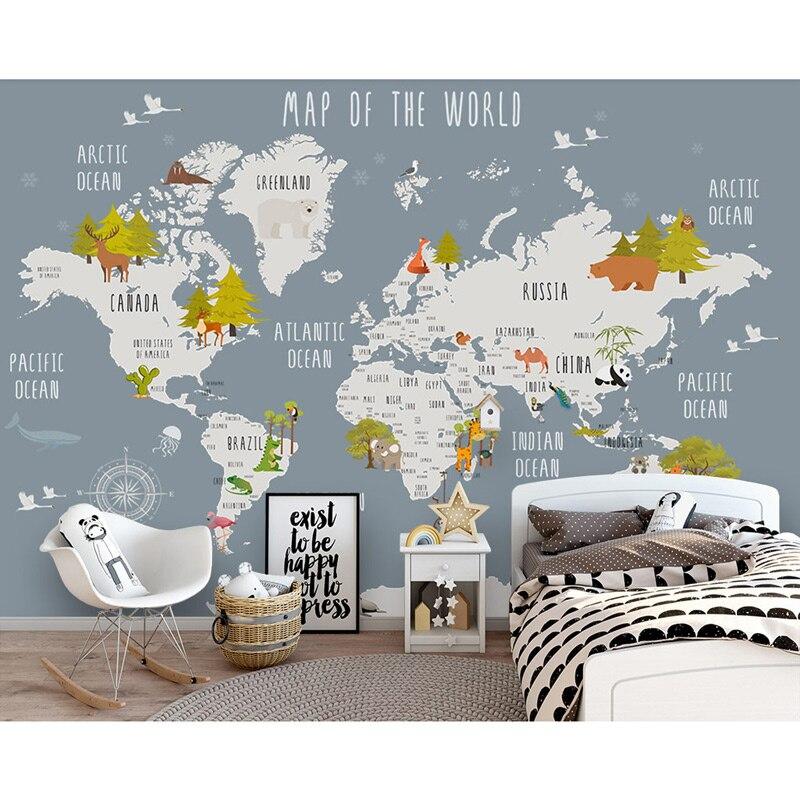 Kids Wall Paper Stickers Cartoon World Map Photo Wallpaper Mural
