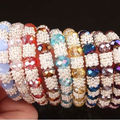 "Hot new fashion free shipping 9PCS Mixed Crystal Glass Spacer Faceted Bead Stretchy Bracelet Bangle 6""  W0077"