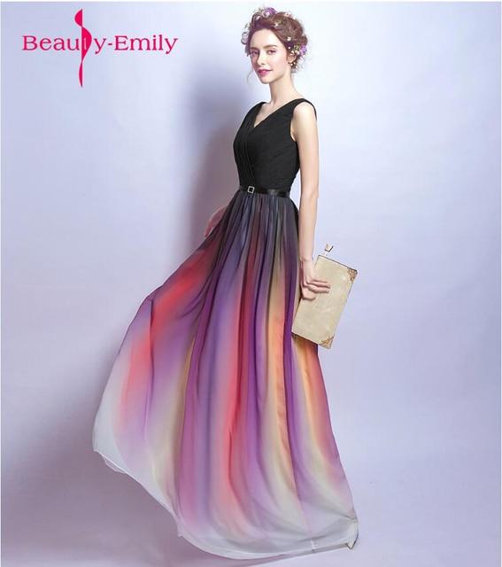 e28791dc357 Vestido de festa black evening dress long rainbow color skirt evening gown  for party emcee birthday