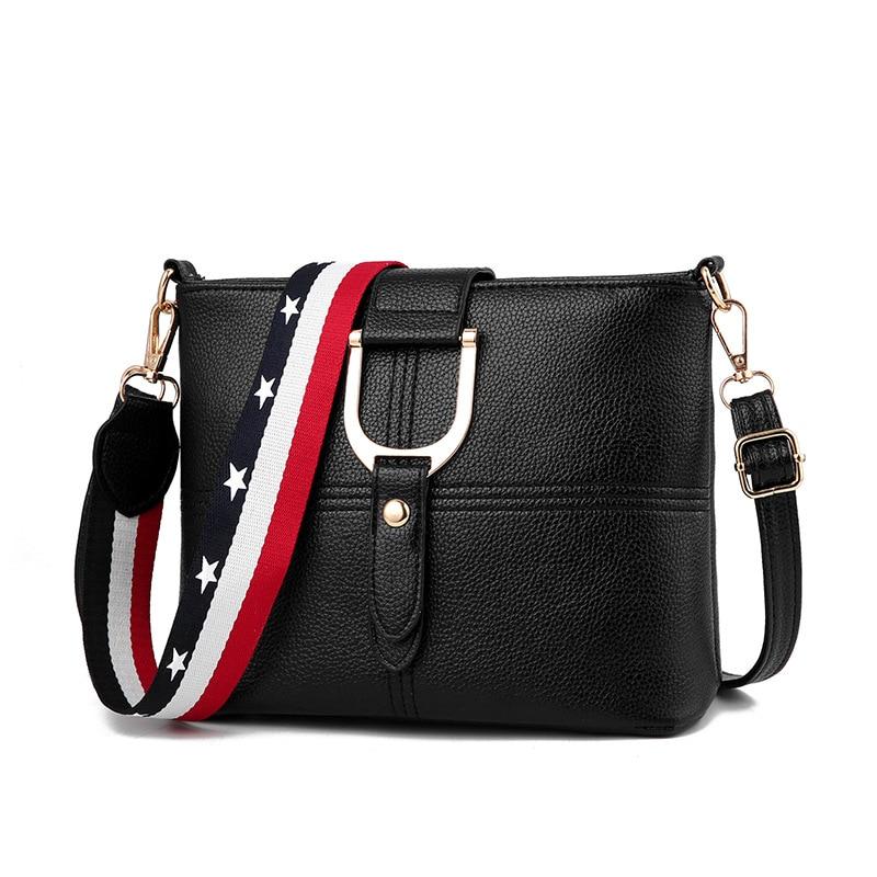 Female Designer Luxury Women Leather shoulder bags Multi-pocket Wide Strap ladies bucket Messenger Crossbody Bags Bolsos Seasons