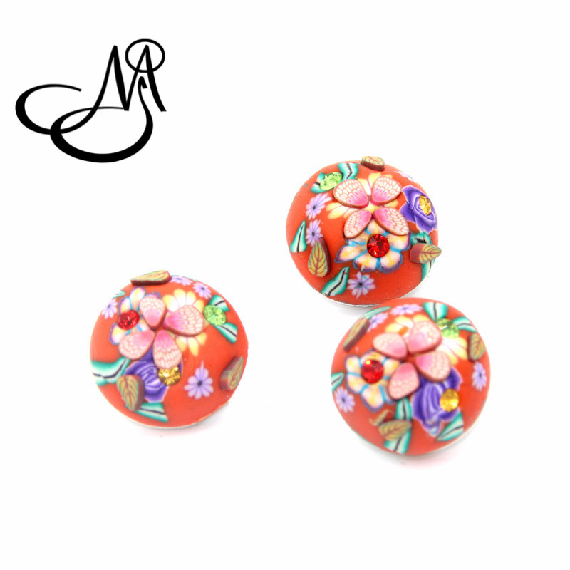 12pcs/lots Snap Button jewelry Clay flower snap button charms 18mm snap button Charms SB237