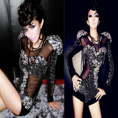 Black Crystal Hand Make Bodysuit Sexy Leggings Crystals Jumpsuit Party Costume Stage Performance Rhinestones Big Stretch Rompers