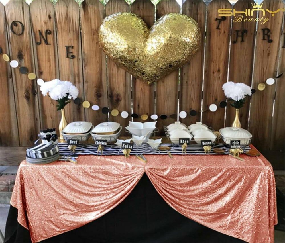 스팽글 식탁보 블러쉬 쉬머 스팽글 식탁보 72x120 인치 다이닝 테이블 커버 테이블 천으로 결혼식/Party C201906-에서식탁보부터 홈 & 가든 의  그룹 1