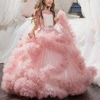 2018 New Baby Kid Girls Dress Vintage Trailing Long Dresses Birthday Party Kid Dress Wedding Bridesmaid Princess Dress 2 13Y