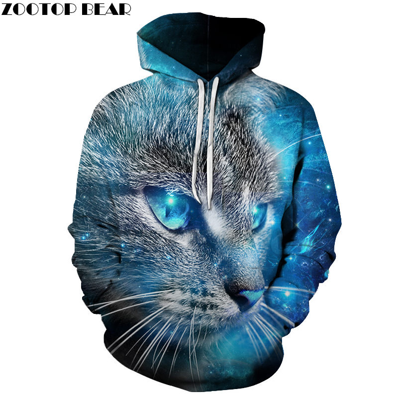Blue Shine Cat 3D Print Hoodie Men Women Sweatshirt Hooded Tracksuit Fashion Pullover 6XL Hoody Streetwear Spring Coat Drop Ship