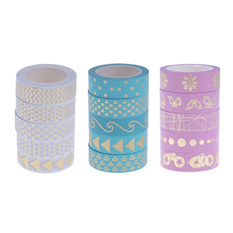 5Pcs Cute Foil Washi Tapes DIY Scrapbooking Adhesive Masking Tape Decorative School Office Supply Material Dscolar Papelaria 1 5cm 7m brief style blue series decorative washi tape scotch diy scrapbooking masking craft tape school office supply