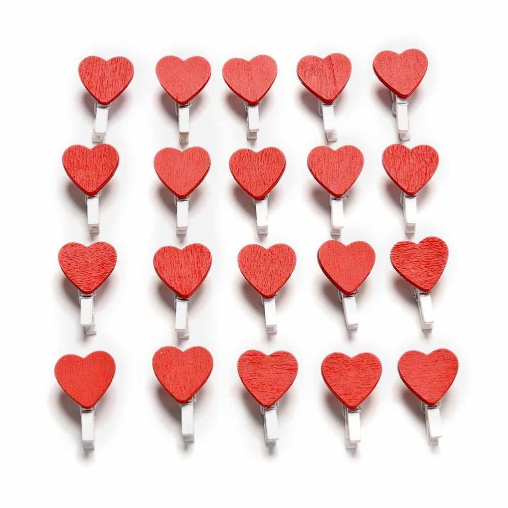 20 sztuk/paczka Home dekoracje ślubne Mini serce miłość drewniane ubrania papier fotograficzny Peg Pin Clothespin Craft pocztówka klipy