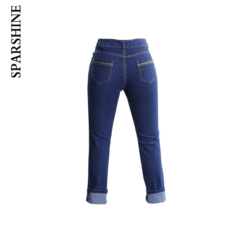Women Regular Straight Pants Female Slim Embroidery Full Length Jeans Ladies Fit Skinny Popular Trousers