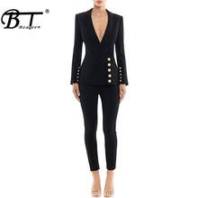 Beateen Women's Black Deep V Gold Buttons Blazer Jacket Pantsuits Long Sleeve Formal For Special Occasion Pant Suits Sets Women(China)
