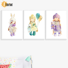 Watercolor Girl Bear Rabbit Wall Art Canvas Painting Nordic Posters And Prints Pictures For Bedroom Baby Room Decor
