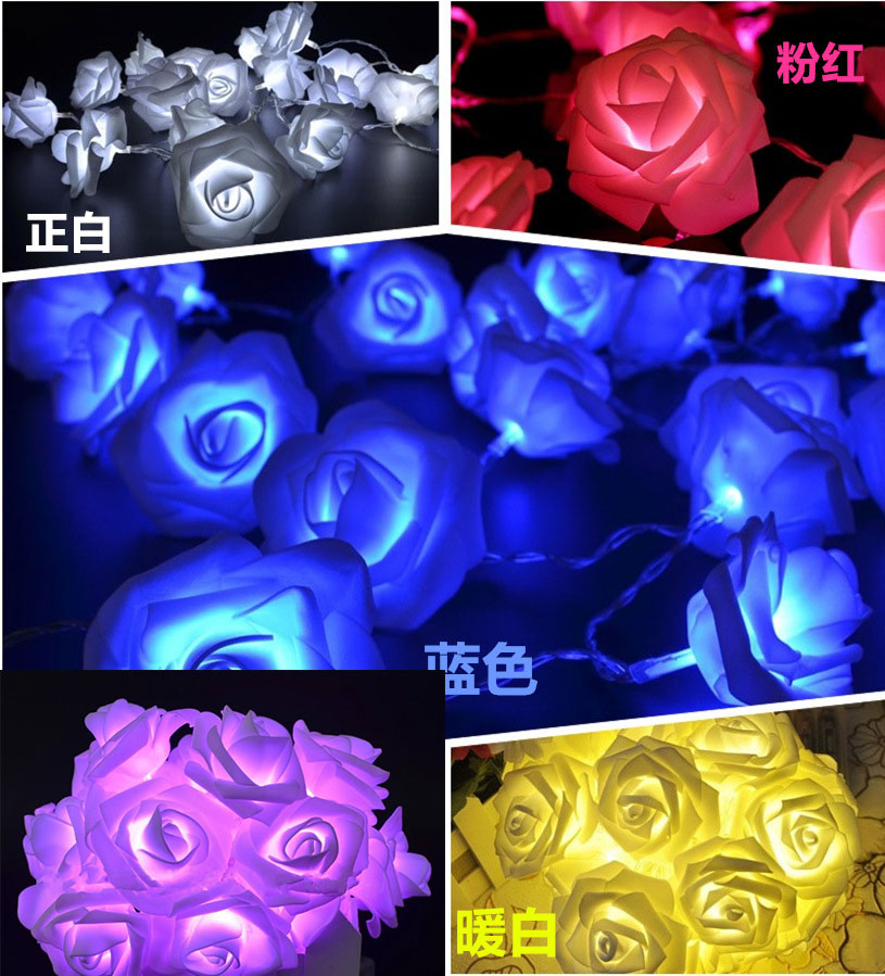 2018 Wedding Decoration luces decorativas 2M 20 LED Rose Flower Fairy String Lights Warm Light Party Valentine Christmas lights