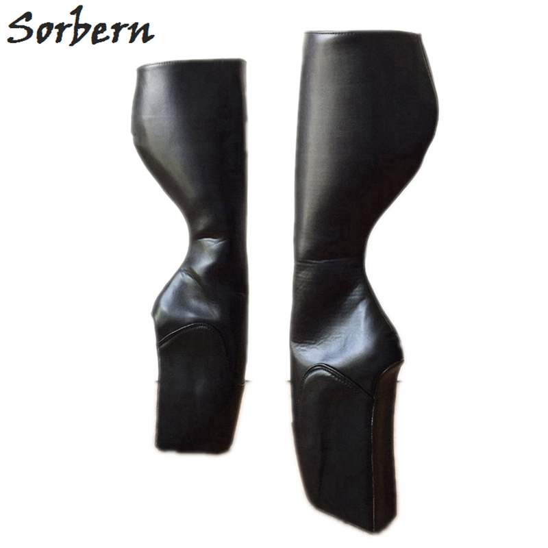 Sorbern Custom Wide Calf Black Matte Knee High Boots Ballet Wedge High Heel Womens Shoes Size